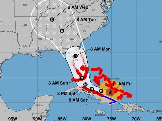 This map provided by the National Hurricane Center shows the projected track of Hurricane Irma as of midday on Friday, Sept. 8, 2017.