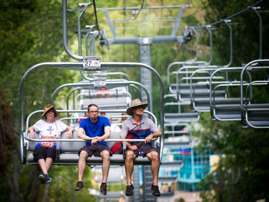 Guests can choose to ride in an open-air quad chair,