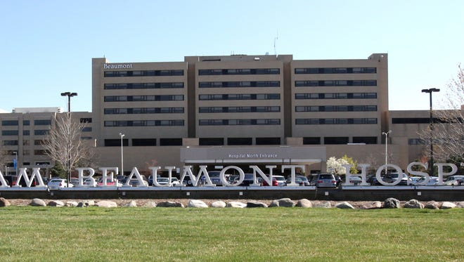 Beaumont Hospital is seen from 13 Mile Road in Royal Oak.