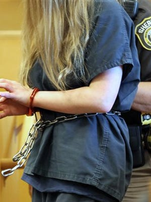 In this file photo, one of the two girls accused of stabbing another girl is led into the courtroom during court proceedings at Waukesha County Court in Waukesha, Mich. A state doctor says the mental condition of one of two girls accused of repeatedly stabbing a classmate to please the fictional horror character Slender Man has improved, and that the 12-year-old is fit to stand trial.