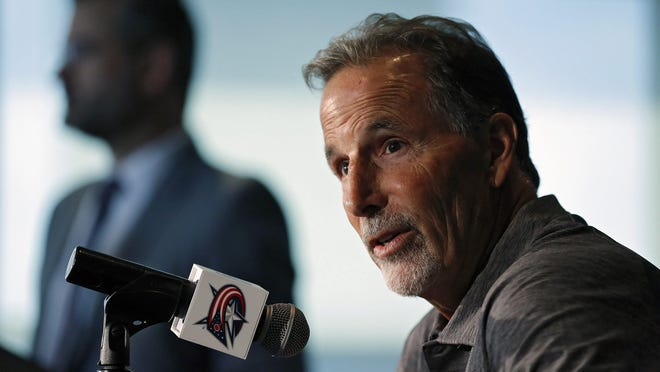 Blue Jackets head coach John Tortorella speaks to the media during media day at Nationwide Arena on September 11, 2019.