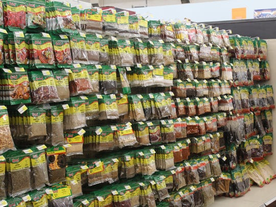 The spice aisle is packed at Baiz Fresh Foods.