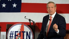 Former New York governor George Pataki speaks at the