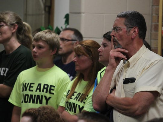 The crowd listens to a speaker at the Edgar School Board meeting as the bullying-related suicide of Jonathan Wesener and its aftermath were discussed, Monday, June 29, 2015.