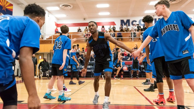 Shadow Mountain's Jovan Blacksher (1) is introduced before their game against Hamilton on Thursday, Dec. 29, 2016, at McClintock High School in Tempe, Ariz.