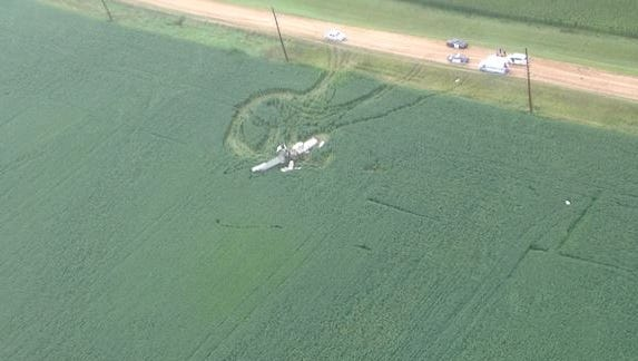 A photo taken from the air shows the crashed plane in a field west of Ruthton, Minn. One man died in the crash.