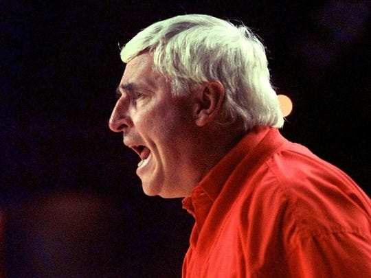 Longtime Indiana University basketball coach Bob Knight was inducted into the Basketball Hall of Fame in 1991.