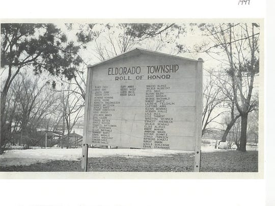 This original wooden sign that listed more than 50 World War II veterans from the Eldorado area graced the Eldorado Fireman's Park from 1947-1960s.