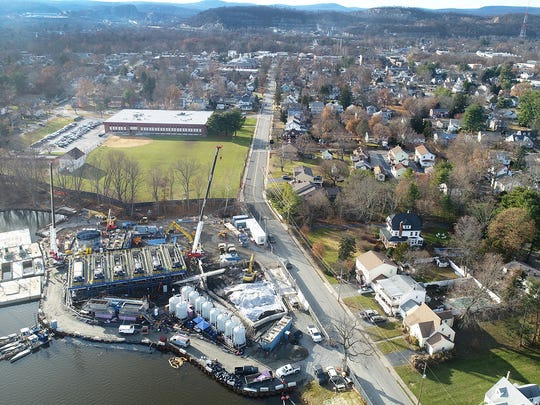 Aerial photo of the dredging equipment along Lakeside Avenue to remove sediment contaminated with mercury from Pompton Lake.