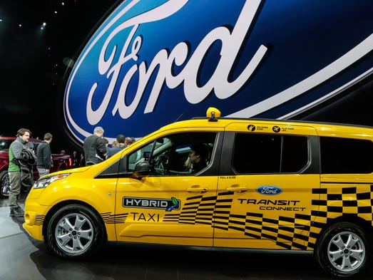 A Ford Transit Connect hybrid taxi.