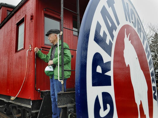 Al Ringsmuth speaks in 2011 during a celebration for the Great Northern X-240 Caboose in Waite Park. The rail car was built in the Waite Park Great Northern Car Shops in 1943.
