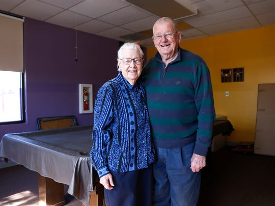 Harriett and Bob Foster pose for a portrait on Thursday at the Bloomfield Senior Center.