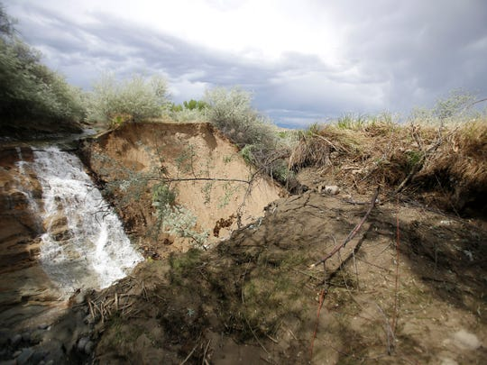 A large eroded portion of the Bloomfield Irrigation Ditch is pictured May 16 off County Road 4655 in Blanco.