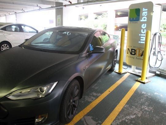 One of the public charging stations in New Brunswick is at the Gateway Garage located along Wall Street.
