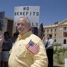 Russell Pearce at a protest against benefits for undocumented immigrants in 2005