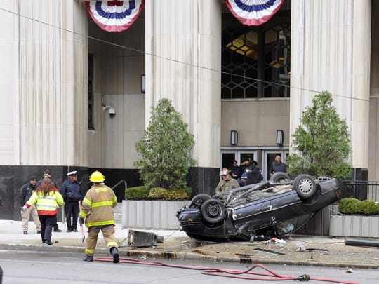 A vehicle crashed into the federal courthouse in the city's downtown late Tuesday morning.