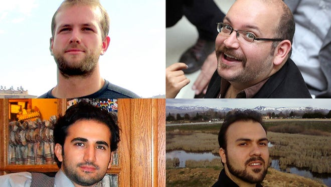 From top left: Matthew Trevithick, Jason Rezaian, Amir Hekmati and Saeed Abedini