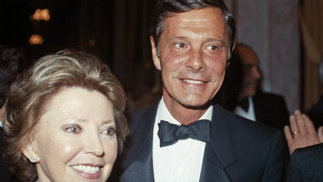 In this March 8, 1984, file photo, actor Louis Jourdan and his wife Berthe Fredrique attend the opening of American Ballet Theater in New York.