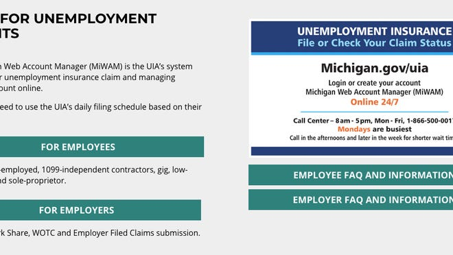 A screenshot of the Michigan Unemployment Insurance Agency website is shown. Lenawee County's jobless rate in July was 8.8%, down from 13% in June and a high of 28.1% in April, according to the Michigan Department of Technology, Management & Budget.