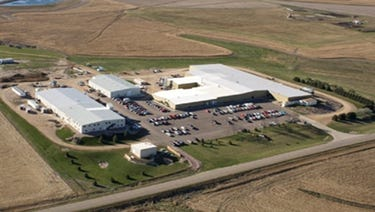 This is an aerial view of the Elanco plant in Larchwood, Iowa, where cattle and pig vaccines are made.