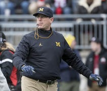 Michigan coach Jim Harbaugh covered a wide range o...