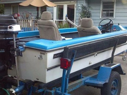 The trailer and boat Aaron Juarez and Chris Thide are believed to have been using for their Sept. 26, 2015, fishing outing.