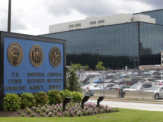 FILE - This June 6, 2013 file photo shows a sign outside the National Security Agency (NSA) campus in Fort Meade, Md. (AP Photo/Patrick Semansky, File)