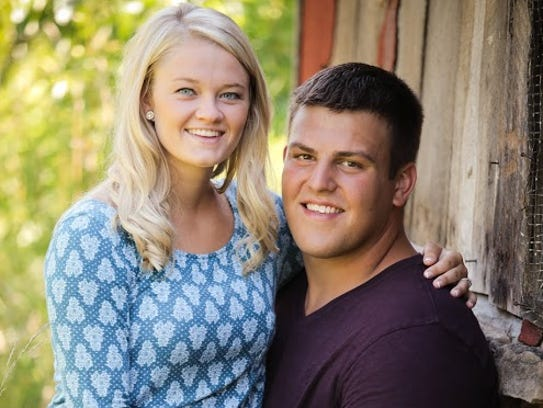 Iowa center Austin Blythe and his wife, Kiley.