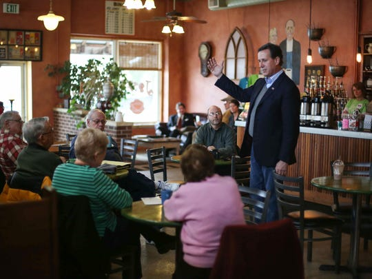 Republican presidential candidate Rick Santorum met with supporters at 10:59 a.m. Tuesday, Jan. 26, 2016, in Monticello, Iowa.