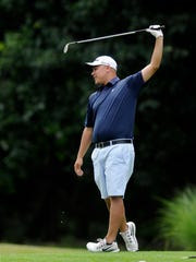 Ryan Gabel reacts to his approach shot at the Jensen Cup on Saturday at Vassar Golf Course in the Town of Poughkeepsie.