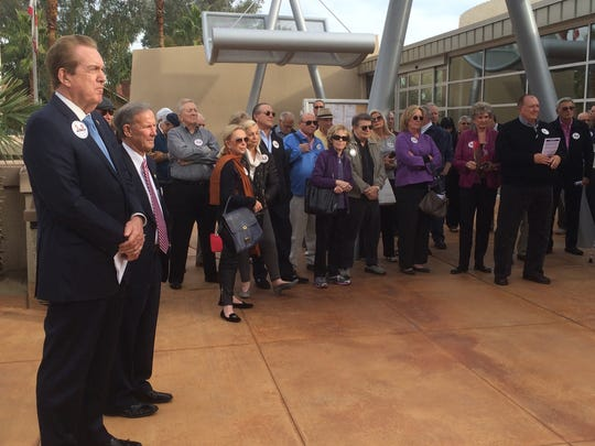 A large group of supporters joined Rancho Mirage City Councilman Richard Kite, left, and Mayor Pro Tem Ted Weill as they kicked off their re-election campaigns Monday at City Hall.