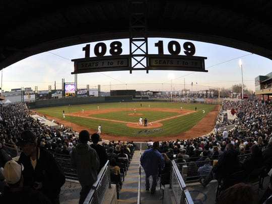 Crowds pack the stadium at Aces Ballpark Friday, April