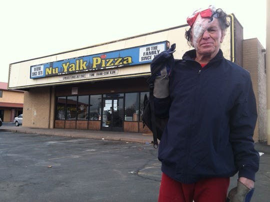 Brian Duggan/RGJ George Spinner, aka Skateboard George, poses for a photo on March 1, 2012 outside the former location of Nu Yalk Pizza in Reno. George Spinner, aka Skateboard George, poses for a photo on March 1, 2012 outside the former location of Nu Yalk Pizza in Reno.