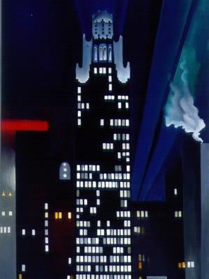 Georgia O'Keeffe (1887-1996) Oil on Canvas 1947 Radiator Building-Night New York Alfred Stieglitz Collection Fisk University Galleries