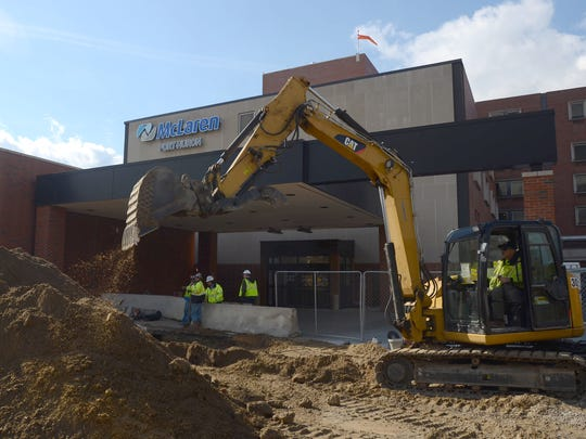 Work continues on the new cancer center Monday, Oct. 26, at Mclaren Port Huron.