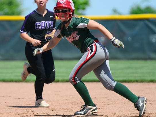 Seree Petersen scored Oak Harbor's only run Thursday.