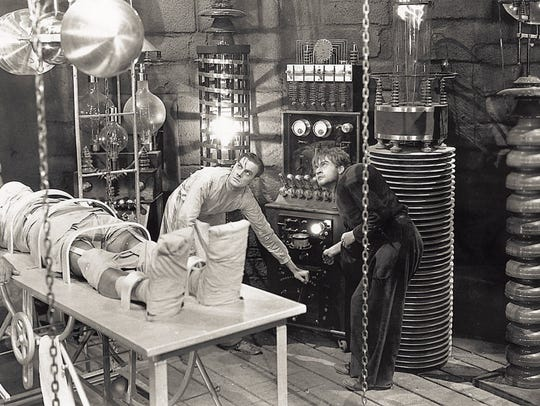 "Kenneth Strickfaden's lab equipment became standard for all ""Frankenstein"" films.  From the 1931 movie: Boris Karloff, Colin Clive and Dwight Frye."