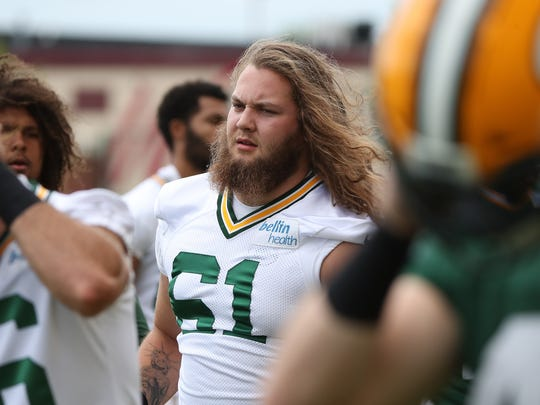Green Bay Packers rookie Cole Madison (61) during Organized
