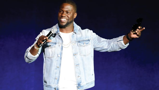 Kevin Hart addresses the audience during the Universal Pictures presentation at CinemaCon 2016 in Las Vegas.