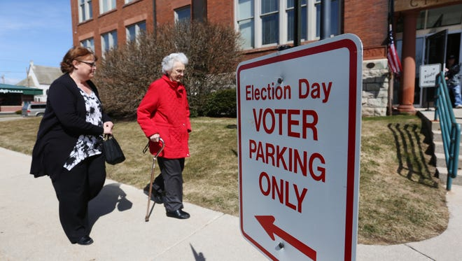 Voters at Two Rivers City Hall during the spring election in 2016. File/USA TODAY NETWORK-Wisconsin