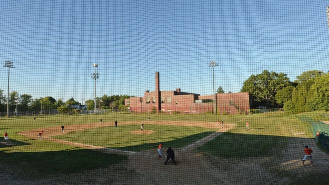 Rambler 9 plays the Erie Outlaws in the Glenwood League championship Aug. 20, 2020 at Ainsworth Field. Past the outfield is the former Roosevelt Middle School.