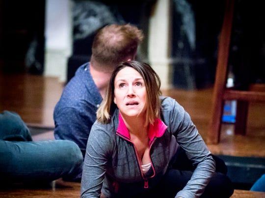 "Ginna Hoben (Antonio) in rehearsal for ""The Tempest."""