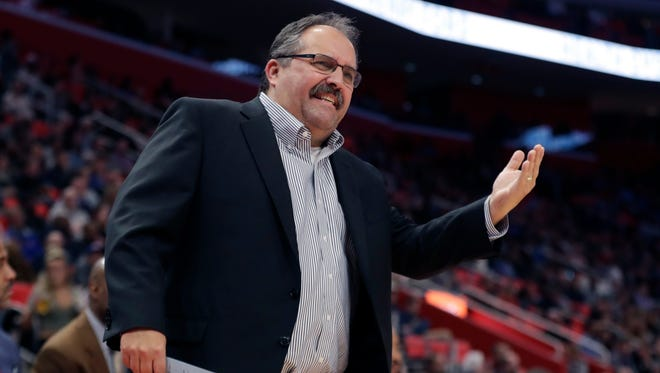 Pistons coach Stan Van Gundy argues a call during the first half on Friday, Jan. 19, 2018, at Little Caesars Arena.