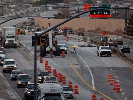 Afternoon traffic starts picking up between Rock Boulevard and the Spaghetti Bowl in Reno in this file photo.