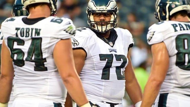 Eagles right tackle Halapoulivaati Vaitai is replacing Lane Johnson, who's serving a 10-game suspension for PED use.