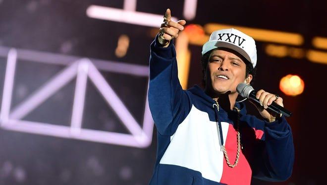Bruno Mars performs at the MTV Europe Music Awards on Nov. 6, 2016, at the Ahoy Rotterdam.