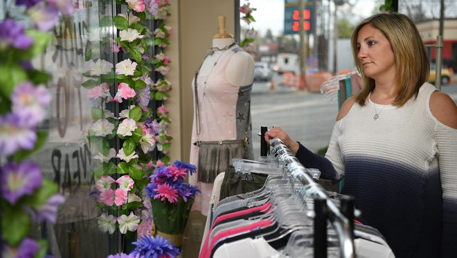 Bryana Paino at her store Bellissimo Boutique in Emerson on Wednesday, Construction of a major road widening project on Kinderkamack Road is negatively impacting her business.