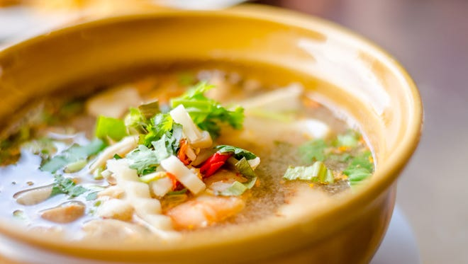 Spicy Soup with Shrimp (Tom Yum Goong), thai food, selective focus.