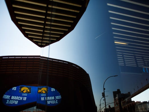 The Iowa Hawkeyes logo is displayed outside the Barclays