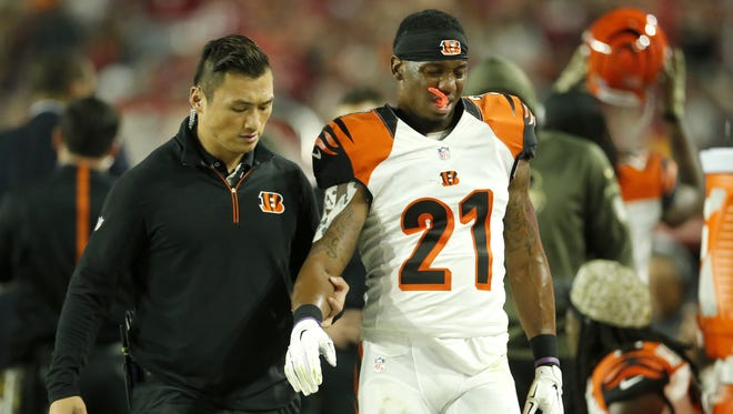 Bengals cornerback Darqueze Dennard is taken off the field after suffering a season-ending right shoulder injury in November.